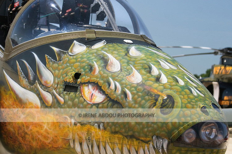 A fighter plane on display at the Joint Service Open House at Andrews Air Force Base in Maryland is painted with a dragon's head.