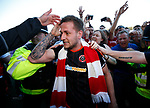 An emotional Billy Sharp of Sheffield Utd emerges from the crowd during the English League One match at Sixfields Stadium Stadium, Northampton. Picture date: April 8th 2017. Pic credit should read: Simon Bellis/Sportimage