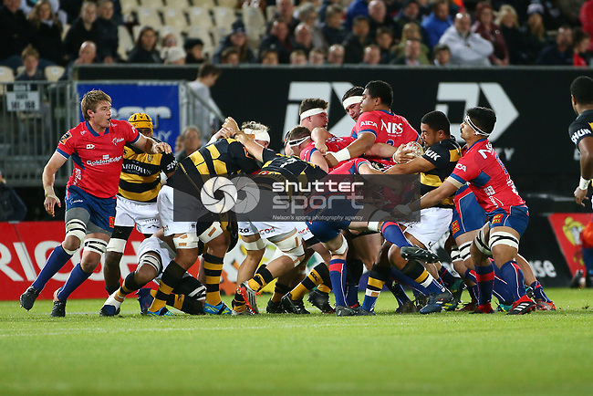 NELSON, NEW ZEALAND - SEPTEMBER 14: Mitre 10 Cup Tasman Mako v Taranaki Bulls on September 14 Trafalgar Park 2018 in Nelson, New Zealand. (Photo by:  Shuttersport Limited)
