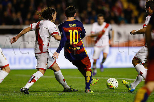 03.03.2016. Madrid, Spain.  Lionel Andres Messi (10) FC Barcelona and Jose Raul Baena Urdiales (8) Rayo Vallecano. La Liga match between Rayo Vallecano and FC Barcelona at the Vallecas stadium in Madrid, Spain