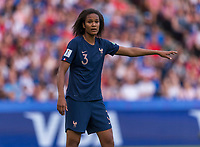 PARIS,  - JUNE 28: Wendie Renard #3 organizes her team during a game between France and USWNT at Parc des Princes on June 28, 2019 in Paris, France.