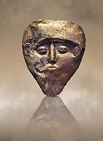 Electrum, gold silver alloy, Mycenaean death mask from Grave delta and Gamma, Grave Circle B, Mycenae, Greece. National Archaeological Museum of Athens