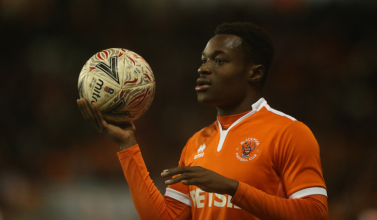 Blackpool's Marc Bola<br /> <br /> Photographer Stephen White/CameraSport<br /> <br /> Emirates FA Cup Third Round - Blackpool v Arsenal - Saturday 5th January 2019 - Bloomfield Road - Blackpool<br />  <br /> World Copyright &copy; 2019 CameraSport. All rights reserved. 43 Linden Ave. Countesthorpe. Leicester. England. LE8 5PG - Tel: +44 (0) 116 277 4147 - admin@camerasport.com - www.camerasport.com