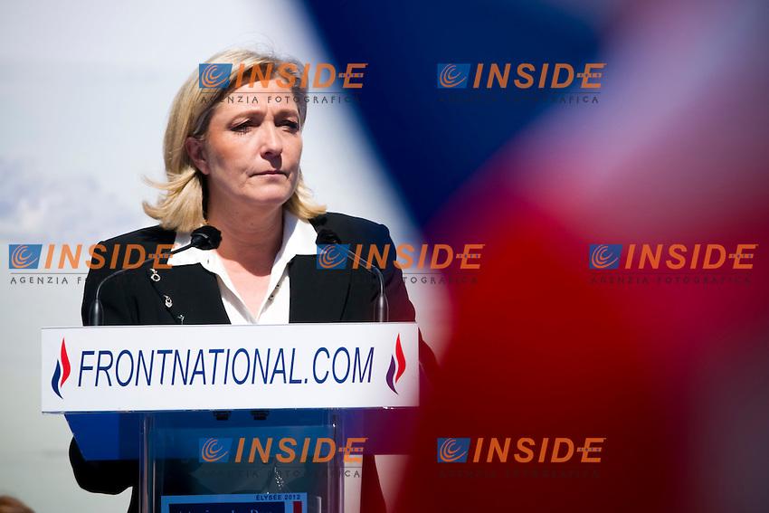 Marine Le Pen.Manifestazione Fronte Nazionale.Parigi 1/5/2012.Foto Insidefoto / JB Autissier / Panoramic.ITALY ONLY