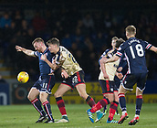 2nd December 2017, Global Energy Stadium, Dingwall, Scotland; Scottish Premiership football, Ross County versus Dundee; Dundee's Jack Hendry shuts down Ross County's Craig Curran