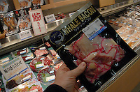 Whale meat for sale in a deprtment store in Tokyo, Japan. The whale meat, in steak, sashimi and bacon sells for about 6 euros (980 yen) per packet. Whale meat is available in a wide range of department stores and fish shops across Japan..20 Nov 2007