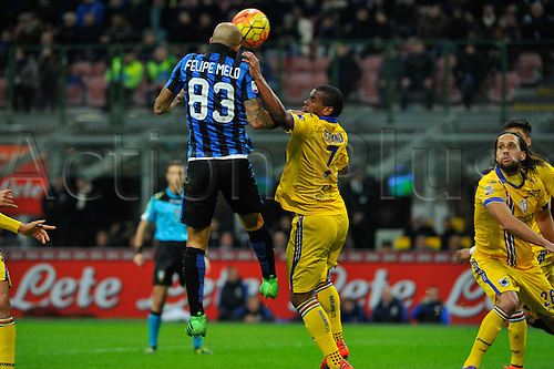 20.02.2016. Milan, Italy.  Felipe Melo of FC Inter challenged by Fernando (Samp) for second score during the Italian Serie A League soccer match between Inter Milan and UC Sampdoria at San Siro Stadium in Milan, Italy.