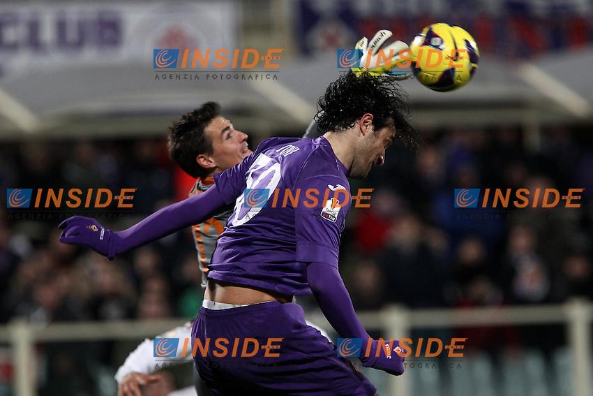 "Mauro Goicoechea Roma Luca Toni Fiorentina.Firenze 15/01/2013 Stadio ""Franchi"".Football Calcio Tim Cup 2012/13.Fiorentina v Roma.Foto Insidefoto Paolo Nucci."