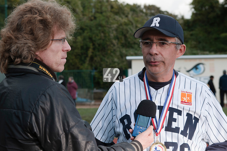 24 October 2010: Francois Colombier answers a journalist as Rouen defeats 5-1 Savigny, during game 4 of the French championship finals, in Rouen, France. Rouen wins his 7th French Championship in 8 years.