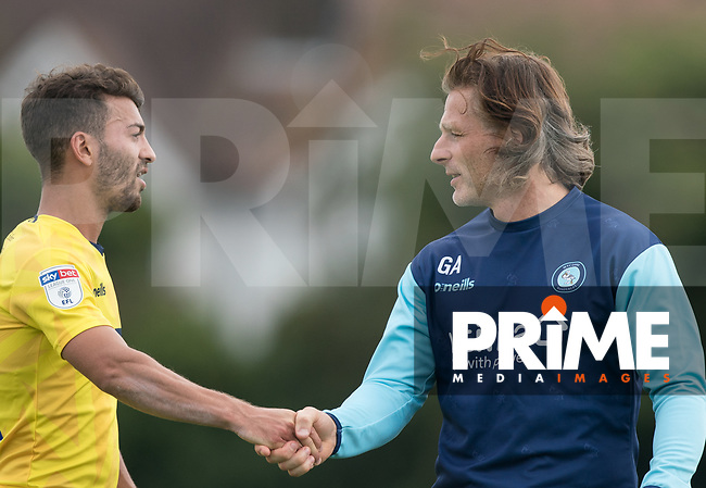 Wycombe Wanderers Manager Gareth Ainsworth Scott Kashket of Wycombe Wanderers during the behind closed doors friendly between Brentford B and Wycombe Wanderers at Brentford Football Club Training Ground & Academy, 100 Jersey Road, TW5 0TP, United Kingdom on 3 September 2019. Photo by Andy Rowland.