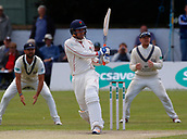 June 12th 2017, Trafalgar Road Ground, Southport, England; Specsavers County Championship Division One Day Four; Lancashire versus Middlesex; Liam Livingstone at the crease during the second Lancashire innings; Middlesex were all out this morning and set Lancashire a target of 108 to win the match
