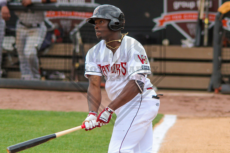 Wisconsin Timber Rattlers outfielder Demi Orimoloye (6) during a Midwest League game against the Clinton LumberKings on May 16, 2017 at Fox Cities Stadium in Appleton, Wisconsin.  Clinton defeated Wisconsin 15-3. (Brad Krause/Krause Sports Photography)