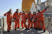 At the National Aeronautics and Space Administration's (NASA) Kennedy Space Center in Florida, the STS-133 crew takes a break from a simulated launch countdown to ham it up for a group photo on the 195-foot level of Launch Pad 39A on October 15, 2010.   From left are, Pilot Eric Boe, Mission Specialist Michael Barratt, Commander Steve Lindsey, and Mission Specialists Tim Kopra, Nicole Stott, and Alvin Drew.  STS-133, aboard the Space Shuttle Discovery, is scheduled for launch Monday, November 1, 2010 at 4:40 p.m. EDT..Mandatory Credit: Kim Shiflett - NASA via CNP.