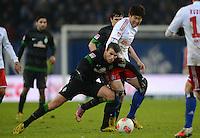FUSSBALL   1. BUNDESLIGA   SAISON 2012/2013    19. SPIELTAG Hamburger SV - SV Werder Bremen                          27.01.2013 Lukas Schmitz (li, SV Werder Bremen) gegen Heung Min Son (re, Hamburger SV)