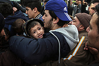 Pictured: Migrants with young children attempt to board buses to travel to the Greek-Turkish border from Istanbul, Turkey. Tuesday 03 March 2020<br /> Re: Clashes between migrants and riot police at the Greek-Turkish border of Evros, Greece