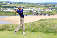 Gavin Smyth (Clonmel) on the 9th tee during Round 3 of The South of Ireland in Lahinch Golf Club on Monday 28th July 2014.<br /> Picture:  Thos Caffrey / www.golffile.ie