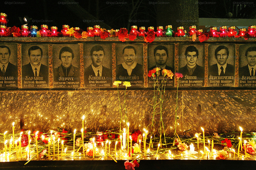 RADIOACTIVITY CHERNOBYL, Slavutych town. Ukraine. 20th Anniversary memorial, by family, friends, comrades after midnight for the 28 firemen who died of ionizing radiactive contamination, after trying to put out the fire in reactor 4 at Chernobyl power station in 1986. The fire started in the early hours of the 26th April 1986, The radioactive cloud  dispersed  worldwide. 250 thousand were evacuated. Exclusion zones exist in close vicinity of Chernobyl in Ukraine and Belarus where people will not be able to live for tens of thousands of years.