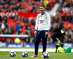 Eden Hazard of Chelsea warms up smiling during the English Premier League match at Old Trafford Stadium, Manchester. Picture date: April 16th 2017. Pic credit should read: Simon Bellis/Sportimage