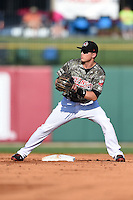 Arkansas Travelers second baseman Alex Yarbrough (7) waits for a throw during a game against the San Antonio Missions on May 25, 2014 at Dickey-Stephens Park in Little Rock, Arkansas.  Arkansas defeated San Antonio 3-1.  (Mike Janes/Four Seam Images)