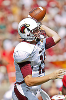 September 03, 2011:   Louisiana Monroe Warhawks quarterback Kolton Browning (15) throws during 1st half action between the Florida State Seminoles and the Louisiana Monroe Warhawks at Doak S. Campbell Stadium in Tallahassee, Florida.
