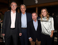 "STUDIO CITY, CA - NOVEMBER 6:  (L-R) Tony Frost, Mark Harmon, David Jackson and Maria Bello attend the TV Guide Magazine Cover Party for Mark Harmon and 15 seasons of the CBS show ""NCIS"" at River Rock at Sportsmen's Lodge on November 6, 2017 in Studio City, California. (Photo by Frank Micelotta/PictureGroup)"
