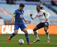 8th February 2020; DW Stadium, Wigan, Greater Manchester, Lancashire, England; English Championship Football, Wigan Athletic versus Preston North End; Sam Morsy of Wigan Athletic passes the ball under pressure from Daniel Johnson of Preston North End