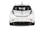 Straight rear view of 2017 Nissan Leaf SL 5 Door Hatchback stock images