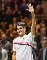 Rotterdam, The Netherlands, 18 Februari, 2018, ABNAMRO World Tennis Tournament, Ahoy, Singles final, Roger Federer (SUI) jubilates, he wins the 45th ABNAMROWTT.<br /> <br /> Photo: www.tennisimages.com