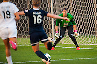 FC Kansas City goalkeeper Nicole Barnhart (18) faces down Sky Blue FC midfielder Sophie Schmidt (16). Sky Blue FC and FC Kansas City played to a 2-2 tie during a National Women's Soccer League (NWSL) match at Yurcak Field in Piscataway, NJ, on June 26, 2013.
