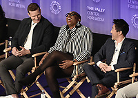"HOLLYWOOD, CA - MARCH 17:  Oliver Stack, Aisha Hinds and Kenneth Choi at PaleyFest 2019 - Fox's ""9-1-1"" panel at the Dolby Theatre on March 17, 2019 in Hollywood, California. (Photo by Scott Kirkland/Fox/PictureGroup)"