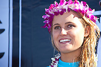 "Alana Blanchard (HAW) HALEIWA, HI (Nov. 19, 2009) -- Hawaiia's Alana Blanchard took out the first crown in the Triple Crown with her victory in the Reef Hawaiian Pro at Haleiwa today.  .The world's first $1,000,000 surf series, the Vans Triple Crown of Surfing presented by Rockstar Energy Drink, got underway again today on Oahu's North Shore today with the battle for the record ""Triple Threat"" prize purse. Haleiwa is playing host to the first jewel in the crown: the Reef Hawaiian Pro, a women's specialty with a Prize purse: $15,000.Stephanie Gilmore (AUS), Rebecca Wood (AUS) and Sofia Mulanovich (PRU) were the other three finalists....The wave: When the waves are up, Haleiwa can be a heavy, fast wave that offers the rider every kind of maneuver. The inside ""Toilet Bowl"" section is famous for its grinding barrels and wringing wipeouts.....The northern hemisphere winter months on the North Shore signal a concentration of surfing activity with some of the best surfers in the wolrd taking advantage of swells originating in the stormy Northern Pacific. Notable North Shore spots include Waimea Bay, Off The Wall, Backdoor, Log Cabins, Rockpiles and Sunset Beach... Ehukai Beach is more  commonly known as Pipeline and is the most notable surfing spot on the North Shore. It is considered a prime spot for competitions due to its close proximity to the beach, giving spectators, judges, and photographers a great view...The North Shore is considered to be one the surfing world's must see locations and every December hosts three competitions, which make up the Triple Crown of Surfing. The three men's competitions are the Reef Hawaiian Pro at Haleiwa, the O'Neill World Cup of Surfing at Sunset Beach, and the Billabong Pipeline Masters. The three women's competitions are the Reef Hawaiian Pro at Haleiwa, the Gidget Pro at Sunset Beach, and the Billabong Pro on the neighboring island of Maui...Photo: Joliphotos.com"