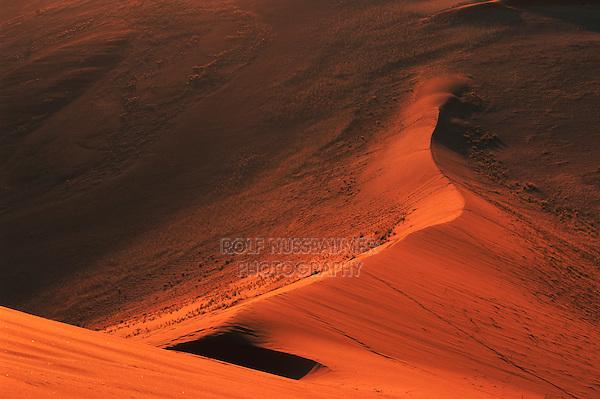 Sand dunes at last light, Sossusvlei, Namib Naukluft National Park, Namibia, Africa