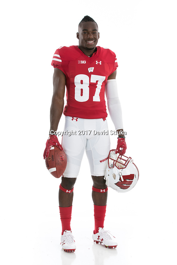 Portrait of Wisconsin Badgers football player Quintez Cephus (87) taken on Friday, July 11, 2017, in Madison, Wis. (Photo by David Stluka)