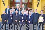 Launching the Killarney Lions Club 10 km Mini Marathon and Walk which will be held in Killarney on 17th May in the Killarney park Hotel on Thursday front row l-r: Philip O'Neill, Patrick O'Donoghue Killarney Mayor, Mick O'Dwyer, John O'Callaghan, Michael Griffin Kerry Hospice, Diarmuid Murphy. Middle row: Colm O'Shea, Eoin Brosnan, Ken O'Leary, Seamus Moynihan, Tony Darmody. Back row: Denis Murphy, Liam Kealy, John Buckley, Liam Ryan and Sean O'Callaghan