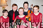 Valentia ballad group at the County Scor na bPaistí finals in the INEC on Sunday l-r: Juliet Cooper, Ben Egan, Aoife Murphy, Maeve Daly and Caoimhe Curnane