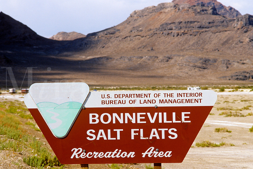 Bureau of Land Management sign Bonneville Salt Flats UT