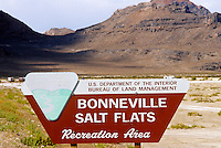 Bureau of Land Management sign Bonneville Salt Flats UT