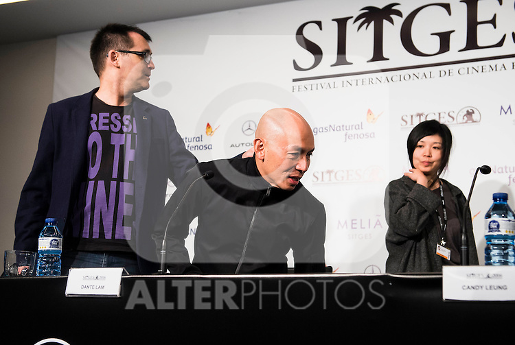 """Director of the festival, Angel Sala, hongkonger director Dante Lam and the producer Candy Leung during the press conference of the presentation of the film """"Operation Mekong"""" at Festival de Cine Fantastico de Sitges in Barcelona. October 10, Spain. 2016. (ALTERPHOTOS/BorjaB.Hojas)"""