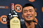 Norichika Aoki (Astros),<br /> JUNE 11, 2017 - MLB :<br /> Norichika Aoki of the Houston Astros shows a signed wine bottle of his Astros teammates and coaches during a press conference after the Major League Baseball game against the Los Angeles Angels of Anaheim at Minute Maid Park in Houston, Texas, United States. He marked his 2000th career hit in the game to be inducted into the Meikyukai (Golden Players Club). (Photo by AFLO)