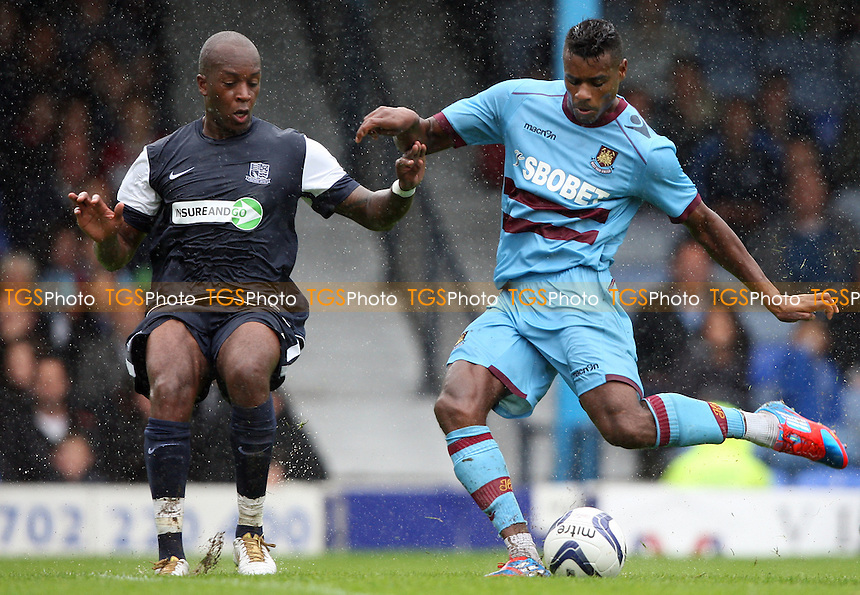 Ricardo Vaz Te of West Ham gets in a first half shot - Southend United vs West Ham United, Pre-season Friendly at Roots Hall, Southend - 14/07/12 - MANDATORY CREDIT: Rob Newell/TGSPHOTO - Self billing applies where appropriate - 0845 094 6026 - contact@tgsphoto.co.uk - NO UNPAID USE..
