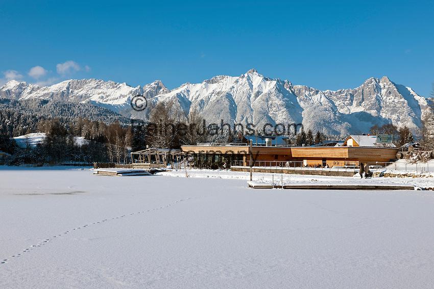 Austria, Tyrol, international Wintersport Resort Seefeld: Cafe and Restaurant Strandperle at Wild Lake, Wetterstein mountains