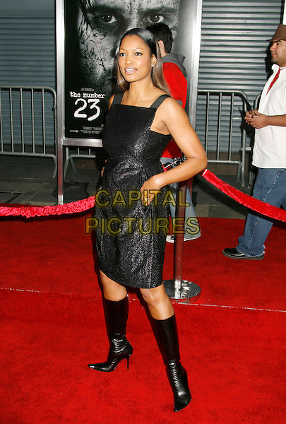 "GARCELLE BEAUVAIS-NILON.""The Number 23"" Los Angeles Premiere held at the Orpheum Theater, Los Angeles, California, USA..February 13th, 2007.full length black dress boots metallic Beauvais nilon .CAP/ADM/RE.©Russ Elliot/AdMedia/Capital Pictures *** Local Caption *** .."