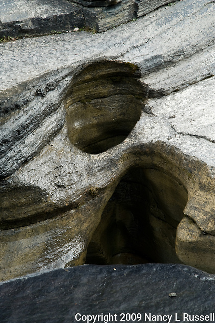 The circular holes are formed by fast moving water with rock and dirt that swirl around the hole and slowly grind away the rock