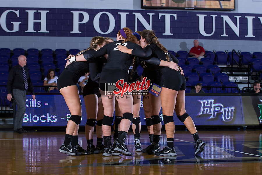 The High Point Panthers huddle up during the match against the Marshall Thundering Herd at the Panther Invitational at the Millis Athletic Center on September 12, 2015 in High Point, North Carolina.  The Thundering Herd defeated the Panthers 3-2.   (Brian Westerholt/Sports On Film)