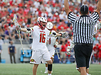 Annapolis, MD - May 20, 2018: Maryland Terrapins Anthony DeMaio (16) celebrates after scoring a goal during the quarterfinal game between Maryland vs Cornell at  Navy-Marine Corps Memorial Stadium in Annapolis, MD.   (Photo by Elliott Brown/Media Images International)