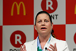 McDonald's Japan CEO and President Sarah Casanova speaks during a news conference on May 26, 2017, Tokyo, Japan. Rakuten and McDonald's have cemented their business relationship by launching an original point card which can be used at all of the 2,900 McDonald's stores in Japan. (Photo by Rodrigo Reyes Marin/AFLO)