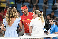 10th January 2020; Sydney Olympic Park Tennis Centre, Sydney, New South Wales, Australia; ATP Cup Australia, Sydney, Day 8; Belgium versus Spain;David Goffin of Belgium versus Rafael Nadal of Spain; Rafael Nadal of Spain shakes hands with officials before the match with David Goffin of Belgium - Editorial Use