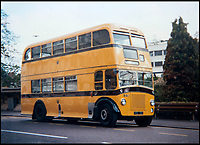BNPS.co.uk (01202 558833)<br /> Pic: TomWren/BNPS<br /> <br /> The bus that Keith Burbidge based his mini version on.<br /> <br /> Dinky decker...<br /> <br /> A retired bus driver has taken his passion for buses to the next level - by transforming a broken mobility scooter into a quirky mini yellow bus.<br /> <br /> Keith Burbidge, 75, retired as a coach driver last year but missed the mode of public transport so much he decided to make his own miniature version.<br /> <br /> The father-of-two spent just &pound;40 and six months turning a broken scooter he picked up at auction into a working scale-model of a Yellow Bus, the company that operates in his hometown of Bournemouth, Dorset.<br /> <br /> The one-of-a-kind motor is 4ft tall and 6ft long and can only travel at speeds of about 5mph.