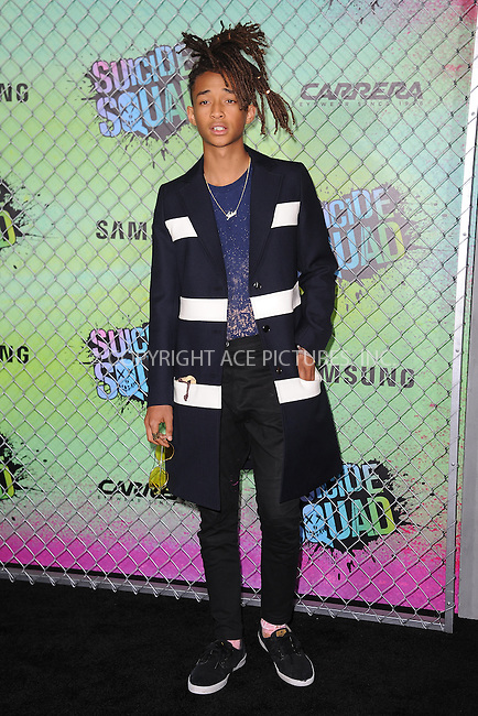 www.acepixs.com<br /> August 1, 2016  New York City<br /> <br /> Jaden Smith attending the world premiere of Warner Bros. Pictures and Atlas Entertainment&rsquo;s 'Suicide Squad' at the Beacon Theatre on August 1, 2016 in New York City.<br /> <br /> <br /> Credit: Kristin Callahan/ACE Pictures<br /> <br /> <br /> Tel: 646 769 0430<br /> Email: info@acepixs.com