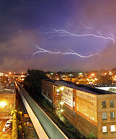 Lightning strikes over the city of charlottesvile and the surrounding area. Credit Image: © Andrew Shurtleff